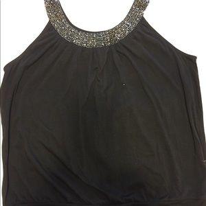 Sleeveless embellished scoop neck top